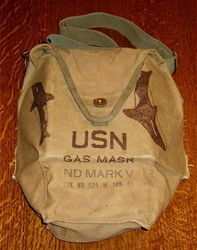 Vintage NAVY ND Mark V Gas Mask Carrier with Trench Art